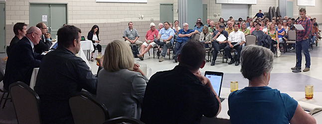 After a marathon four-hour public hearing Council decided to table further discussion about the Tree House Hotel development until noon on Wednesday, July 27, at the Council Chambers on Second Street East. David F. Rooney photo
