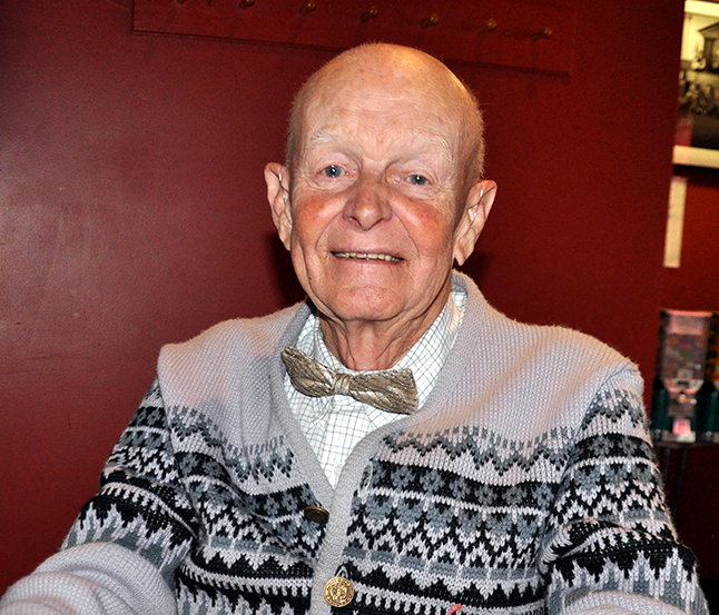 Jack Carten — well known to all true locals and long-time residents — is moving to Calgary to be close to his children. Photographed here at a dinner held in his honour at Emo's Restaurant two weeks ago, Jack was active in the community through the Elks Lodge, Legion Branch No. 46, the Rod & Gun Club and other societies. George Hopkins photo