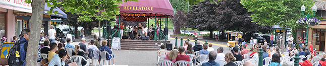 Joanne Stacey and her band helped Revelstokians and visitors continue celebrating Canada Day with their appearance at Grixxly Plaza as part of the Arts Council's Summerfest 2016 schedule or performers. Please click on the image to see a larger version. David F. Rooney photo