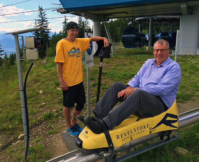 Steve Thomson, minister of Forests, Lands and Natural Resources, looks ready for his plunge into the unknown — okay, that's a bit of a stretch but he does look like's about to enjoy his trip on the The Mountain Coaster at RMR last Wednesday. Mark McKee photoi