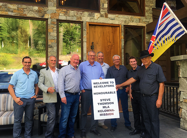 Thomson, in the center of this greeting party of local BC Liberals, also vusited the Downie Mill and the site at Greeley of Roe's proposed Revelstoke Adventure Park. (You can find out more about the proposed Adventure Park at an Open House at the Community Centre on Tuesday, July 26, starting at 5:30 pm.) Thomson had z private dinner with local party members at Ray Redekopp's Bison Lodge before attending a cocktail party at the same venue with invited guests. Photo courtesy of Peter Bernacki