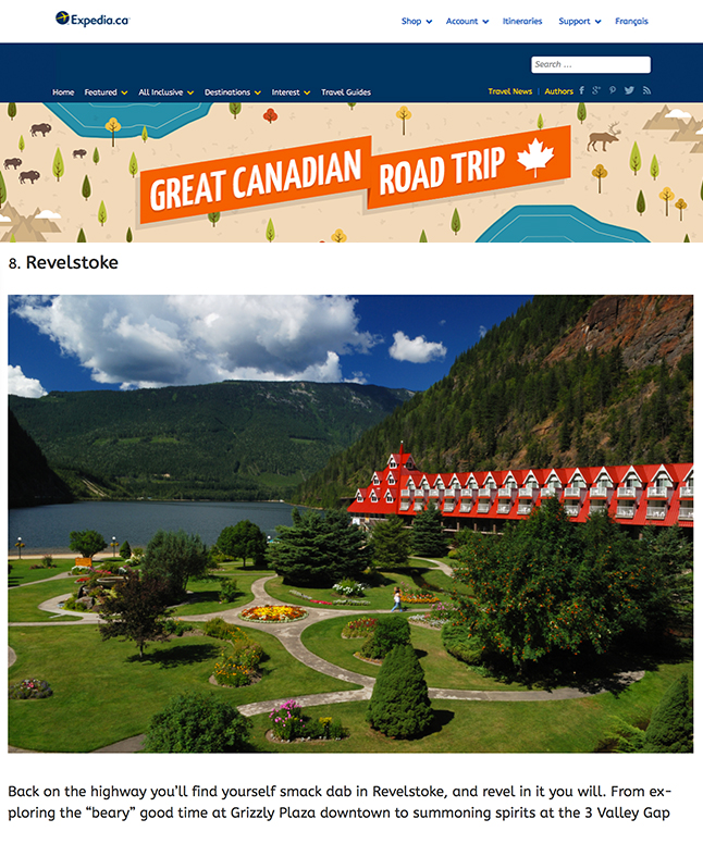 Revelstoke has been named one of the Top 10 Places to Stop in BC on Expedia.ca's Must-See Stops on a BC Road Trip. Photo courtesy of Expedia.ca