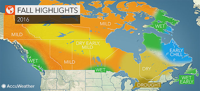 Drought will be the dominant feature through much of Canada this autumn, including eastern BC, according to AccuWeather's senior meteorologist. Not only is a mild and dry season forecast for Ontario and Quebec, but also for many areas across the northern Prairies and into the Rockies. Weather graphic courtesy of AccuWeather