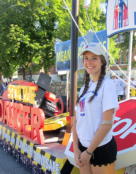 As a War Amps Safety Ambassador Revelstoke's Kendra Blakely is always willing to help the organization get its message out to children. Last Saturday Kendra rode the War Amps float in the Peach Festival Parade in Penticton. This year's theme was: Mean Machines. Spot the danger before you play! The colourful float warned kids about the dangers in their neighbourhood from lawn mowers, farm equipment and railway crossings. As a member of The War Amps Child Amputee (CHAMP) Program, Kendra is well qualified to pass on the PLAYSAFE/DRIVESAFE message as she has met children who have lost limbs in accidents that could have been prevented. Photo courtesy of the War Amps