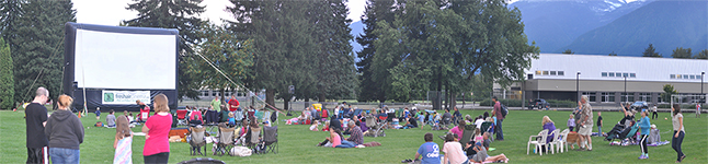 This was the scene down at Queen Elizabeth Park on Sunday evening as families gathered to watch the Peanuts film presented by the Revelstoke Credit Union. Please click on the photo to see it as a larger image. David F. Rooney photo