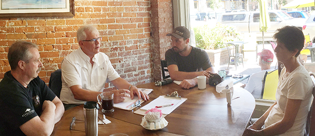 MP Wayne Stetski was in town Thursday afternoon to gather constituents' views regarding potential electoral changes. Three people — Alan Polster, Perter Worden and Virginia Thompson met the New Democratic Party MP at Conversations to talk about electoral reform. David F. Rooney photo