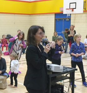 Rita Tedesco, the new principal at Arrow Heights Elementary School, addressed parents and students during SD 19's traditional Mug & Muffin glad-to-meet-you event on the first day of school, Tuesday, September 6. A natve-born Revelstokian, Ms. Tedesco is a brand-new principal in the system. In fact, with the esxception of RSS, all three of the city's elementary schools have new principals. Todd Hicks, former principal at AHE, is now in charge of Begbie View Elementary. Meanwhile, Andy Pfeiffer, former Vice-principal at RSS, is now the principal at Columbia Park Elementary. He replaces Ariel McDowell, who is now District Principal for Aboriginal Education. David F. Rooney photo