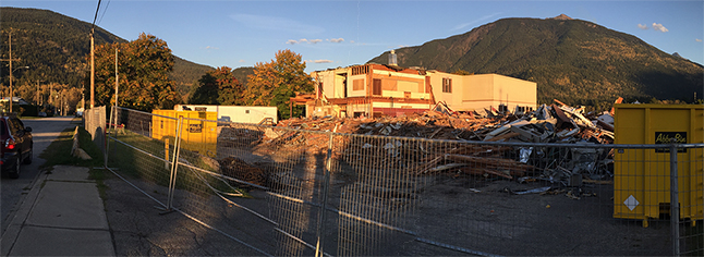 Mount Begbie Elementary School has finally bitten the dust. Thousands of local kids went to MBE, but with the advance of time the school district saw no reason to maintain a superfluous school building. Please click on the image above to see it in a larger format. David F. Rooney photo