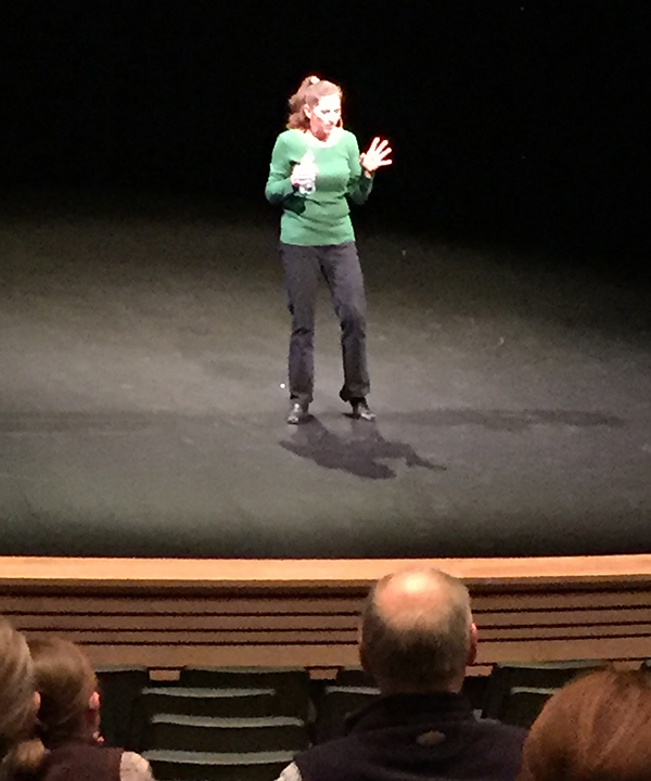 """Victoria Maxwell captivated her audience at her Crazy Talk presentation at the Performing Arts Centre about the impact mental illness had on her and her family. While this monologue was very entertaining — indeed, gripping — it was also an enlightening description about the impact mental illness had on her as a young person. On Wednesday, September 21, at the RPAC from 9 am-3 pm, Victoria will be offering a FREE Catalyst for Creativity and Courage Playshop, """"an interactive day of perfectly, imperfect improv, creative writing, monologue hatching and soulful speech shaping. [In this playshop], cultivate confidence and courage, get better at expressing yourself on the fly while having fun, [and] walk away with a one- to three-minute rough draft of a fictional or true-story monologue which you can develop further into a talk, a show, a snippet to share or NOT (www.victoriamaxwell.com)."""" Limited to 15 participants, and snacks and lunch will be provided. Victoria Maxwell's events are sponsored by the Revelstoke Local Action Team as part of the Child and Youth Mental Health and Substance Use (CYMHSU) Collaborative, funded by Doctors of BC and the BC government, and are presented in partnership with WCG/WorkBC, the Revelstoke Arts Council, and Community Futures. David F. Rooney photo"""