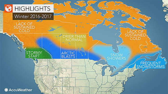 AccuWeather reports a snowy season is in store for some of Canada's biggest cities as winter storms dump frequent snow on eastern Canada. Stormy weather is also in the forecast for British Columbia and the Canadian Rockies this winter, while the Prairies face bitter cold. Map courtesy of Accuweather