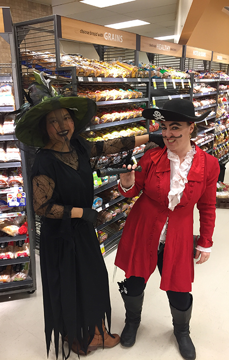 Ping Pratico (left) and Lisa Sutherland were not-so-scary as a witch and buccaneer at Save On Foods. David F. Rooney photo