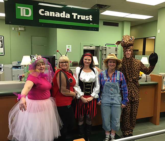 The TD-Canada Trust's staff always use imagination when they choose their costumes! Photo courtesy of the TD-Canada Trust staff
