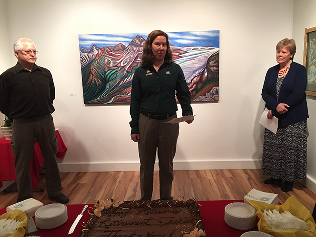 Allison Fleischer of Parks Canada Opens this year's Art in the Park exhibition as Visual Arts Society Chairman Ken Talbot (left) and outgoing Executive Director Jackie Pendergast look on. Fleischer praised Jackie for her work over the years organizing and promoting the annual show. David F. Rooney photo
