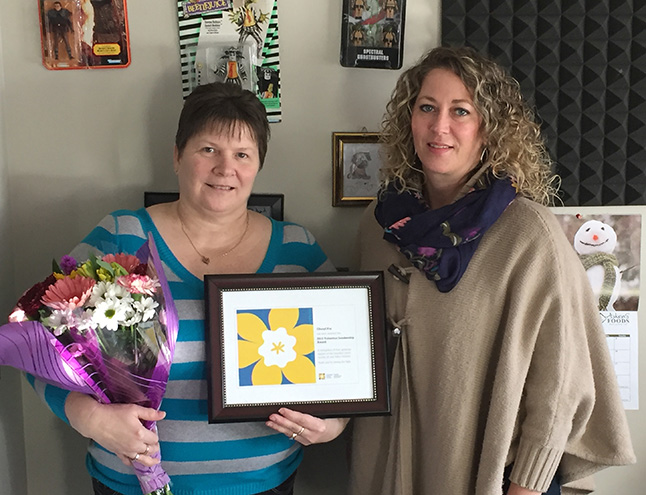 """Cheryl was awarded the Canadian Cancer Society's Volunteer Leadership Award on Wednesday, November 16, for her 16 years of service as the society's face in Revelstoke. In 2000 Cheryl became the coordinator of the Revelstoke Relay for Life event. """"She also took the lead on the annual Daffodil Campaign in 2013 – as well as single handedly pulling together the new Slopes For Hope event hosted at RMR, which replaced the annual Relay For Life and it is now going into its third year,"""" said Jennifer Dies, the society's coordinator for community giving. """"We wanted to not only award and thank Cheryl for her dedication, but wanted to ensure it was done publicly, as she is stepping down from this role to take on other community endeavors. We're incredibly grateful for the time and dedication she has devoted to the society, and acknowledge the large amount of people within the community that have benefited from her work."""" David F. Rooney photo"""