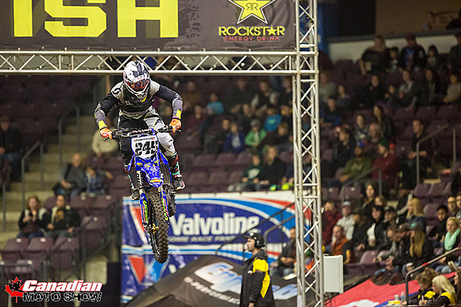 Skyller Archer #245 and Seth Chevrier # 505 just finished the 2016 Canadian National Arenacross Tour this past weekend in Calgary. The series was five rounds which included venues in Sarnia and Barrie, Ontario, Penticton, and Calgary for a two-round double header. Here, Skyller Archer catches some air. Photo courtesy of Joel Chevrier