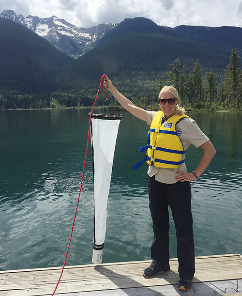 Laura Gaster, the CSISS Aquatic Invasive Species Program Coordinator, samples for invasive mussel larva (veliger) in Trout Lake as part of the early detection program to protect our waters. To date, no invasive mussels have been detected in the Columbia Shuswap. Photo courtesy of the Columbia Shuswap Invasive Species Society