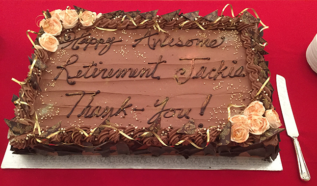 Here's a tantalizing image of the retirement cake baked for Jackie's oarty. David F. Rooney photo