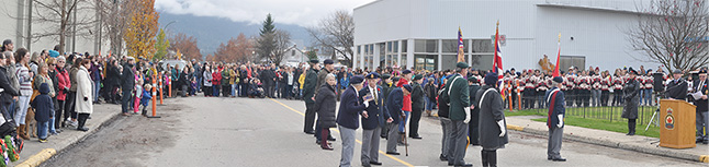 The Royal Canadian Legion Branch 46 colour party is noticeably smaller than in previous years but they still march with pride. David F. Rooney photo