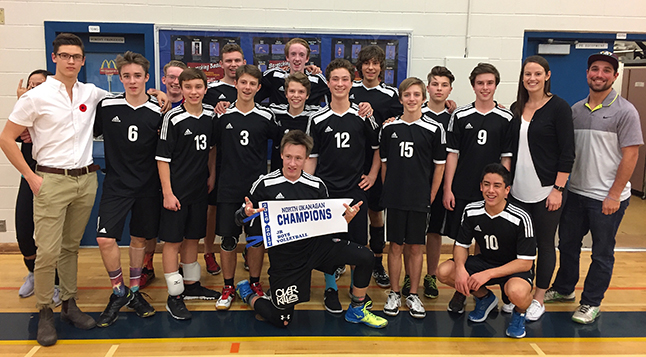 "The RSS Junior Boys Volleyball team travelled to Vernon last weekend to compete in – and win — the North Zone Championship. ""Coming first afforded us the opportunity to host the Valley Championships here this weekend,' Coach Sheena Bell said. ""They have worked hard and I am very proud of them."" The tournament is Friday and Saturday at RSS.  Our team plays at 2 pm, 4:30 pm, and 7 pm on Friday, November 18. How well they fare on Friday will determine Saturday game. This photo shows the team enjoying their victory in Vernon. Photo courtesy of Sheena Bell"