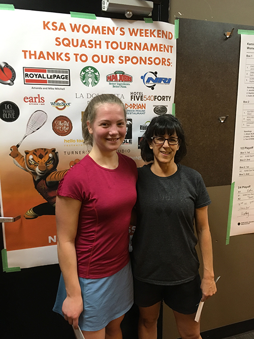 Sophie Dorrius (left) cruised to the title in the Ladies Weekend Tournament in Kamloops last weekend, November 26 - 27. Sophie was in the Ladies B, which was the highest draw in the tournament and won the tournament in dominant fashion. She won all four matches 3 games to 0, except the semi final which was 3-1. Proud dad Kevin Dorrius took this photo of Sophie and fellow finalist and tournament organizer Allison Slater of Kamloops. Sophie's sister Julia was unable to participate due to an ankle injury. Way to go Sophie! Kevin Dorrius photo
