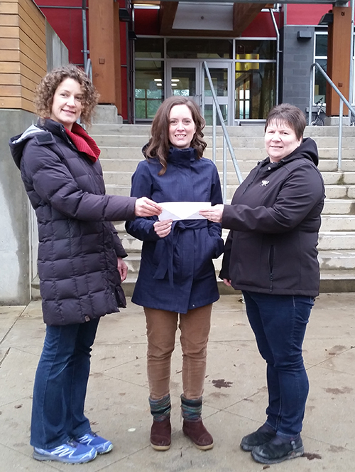 Hospital Auxiliary President Cheryl Fry (right) recently presented a $1,000 cheque to Jennifer Schott, Clinic Nurse Supervisor, (middle) and Krystal Symonds the Opt Clinic's Coordinator (left).The money is to be used to support the noon-hour Opt Clinic at RSS. Photo courtesy of Vivian Mittchell
